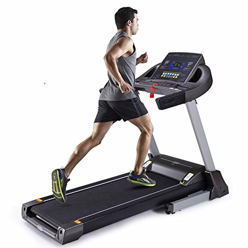UMAY Smart Heavy Duty Running 7 Inch LCD Display Treadmill with Auto Incline,MP3&USB,Sound System,Folding,with12 predefined Programs(Black) Treadmills