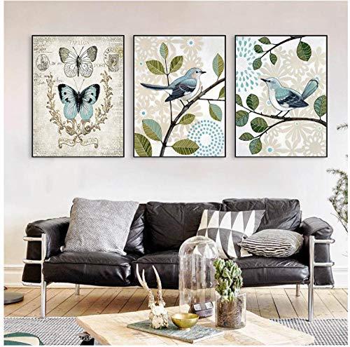Jwqing dier muurkunst canvas schilderij vlinder muurschilderingen voor woonkamer vogels bloemen decoratie afbeelding (40x60cmx3 zonder lijst)