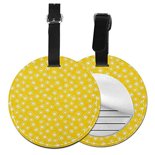 Small Round Luggage tag Golden Suitable for Children and Adults Sketchy Sun Like Flower Windmill Inspired Artwork Modern Polka Dots Image,Diameter3.7' Marigold and White