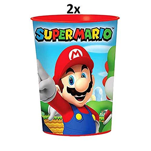 Javoli Super Mario Nintendo Trinkbecher Becher Partybecher für Kinder 473 ml im Set (2er Set)