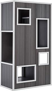 【アメリカNew Age Pet】ニューエイジペット ecoFLEX シリーズ6階建てキティハウス キティケースキャットプレイタワー グレーホワイト