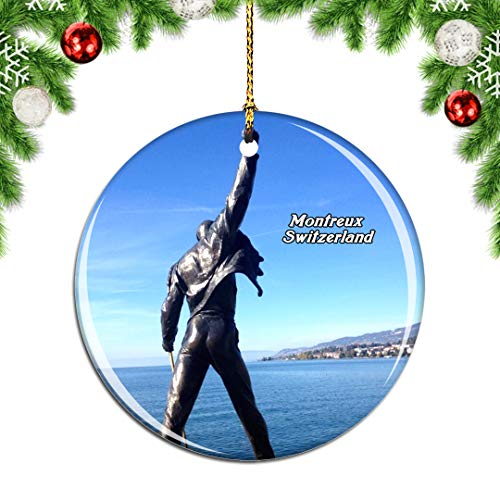 Weekino Switzerland Freddie Mercury Memorial Montreux Christmas Xmas Tree Ornament Decoration Hanging Pendant Decor City Travel Souvenir Collection Double Sided Porcelain 2.85 Inch