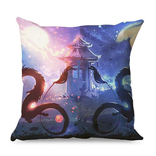 CCMugshop Fantasy - Funda de cojín decorativa para sofá (45 x 45 cm), diseño de dragón, color blanco