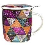 Confezione regalo multicolore Mug Mandala con tazza 400 cc, coperchio e infusore inox - Porcellana Bone China patchwork