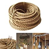 GreenSun LED Lighting Rope Cable Wire, 3x0.75mm, 10 Meters, Textile Hemp Electric Wires, 3-core Twisted Braided Linen Line for DIY Lamp Accessories