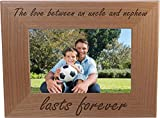 The Love Between an Uncle and Nephew Lasts Forever - 4x6 Inch Wood Picture Frame - Great Gift for Birthday for Brother, Brothers, Uncles