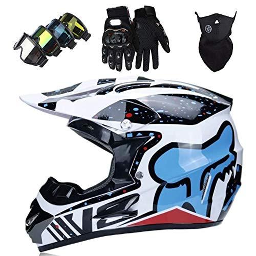 WAHA Casco Motocross Niño,Casco de Motocross de Integrales,Casco de Moto,Casco de MTB de Integrales(Guantes + Gafas + Máscara) para Moto Cross Descenso Quad BMX Bicicleta,Copos de Nieve Blancos,M