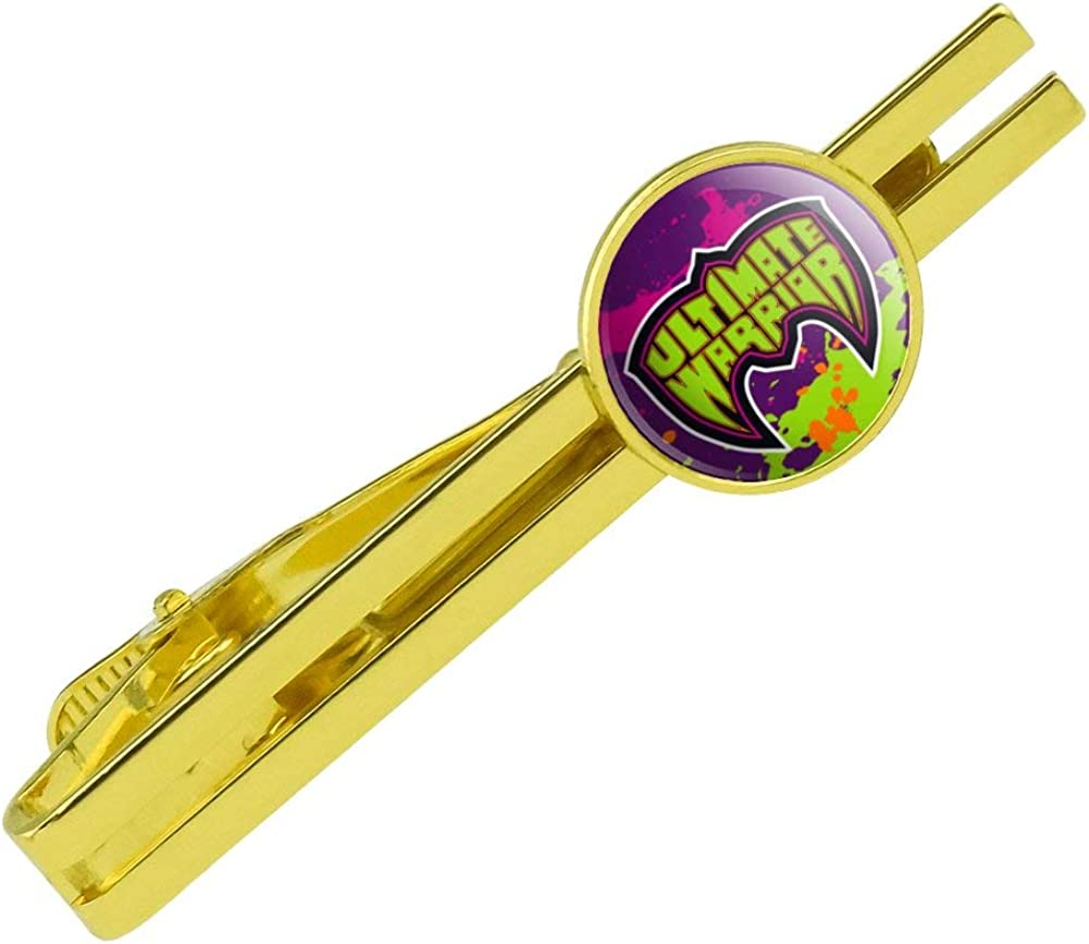 GRAPHICS & MORE WWE Ultimate Warrior Logo Round Tie Bar Clip Clasp Tack Gold Color Plated