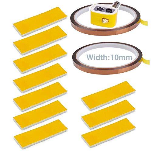 Usongshine 2 Rollen 10mm x 30 Yards Hochtemperaturhitzebeständiges Band + 10 Stück 3mm Dicke Heizblock Baumwolle für 3D-Drucker Hotend