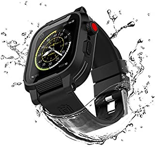 ShellBox Rugged Case for Apple Watch 44mm Series 5 / Series 4,Full Sealed Waterproof Watch Case with Built-in Screen Protector,Shockproof iWatch Case 44mm with Black Soft Silicone Watch Band