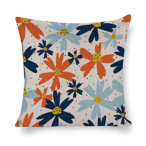 Lplpol SH1870 - Funda de almohada decorativa sin costuras, diseño de flores azules y naranjas