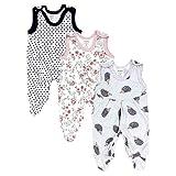 TupTam Baby Mädchen Strampler mit Fuß 3er Pack, Farbe: Farbenmix 3, Größe: 56