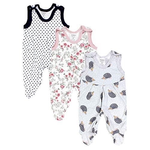 TupTam Baby Mädchen Strampler mit Fuß 3er Pack, Farbe: Farbenmix 3, Größe: 68
