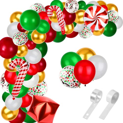 12 Inch Christmas Balloon Arch Garland Kit 108Pcs Candy Foils Red Green Gold Confetti Balloons for Party Supplies Winter Holiday Birthday Decorations