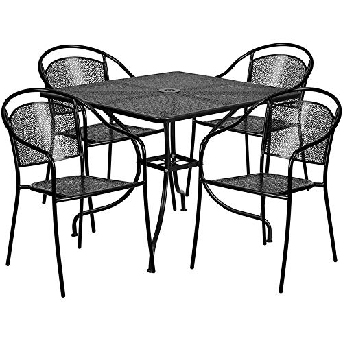 LIVING TRENDS 35.5'' Square Black Indoor-Outdoor Steel Patio Table Set with 4 Round Back Chairs