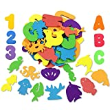kockuu 66pcs Bath Toys Foam Letters Alphabet Numbers Animals Toys Set for Kids Bath Time Fun