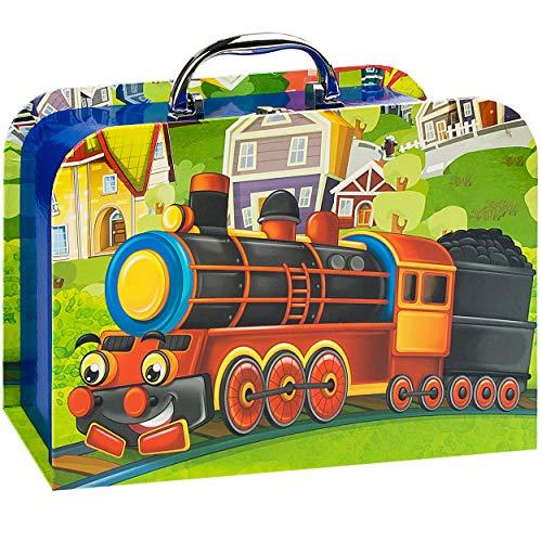 alles-meine.de GmbH 2 TLG. Set _ Kinderkoffer / Koffer / Kofferset - in 2 verschiedenen GRÖßen - lustige Eisenbahn - Kofferset - für Spielzeug und als Geldgeschenk - Mädchen & Ju..