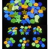 Tianher Brillan en la Oscuridad Guijarros 180piezas Resplandor en los jardín DIY Decorativo Piedras Gravilla para Pasillos Acuario Tanque de Peces Piedras Decorativas y Jardín