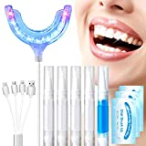 Teeth Whitening Kit,OriHea 35% Carbamide Peroxide,Desensitizing Gel Syringes (1-Pack), Gel Syringes (4-Pack),IPX7 Waterproof USB charging,Soft Silicone Tray Case,24 Blue LED Light, 8 Red LED Light