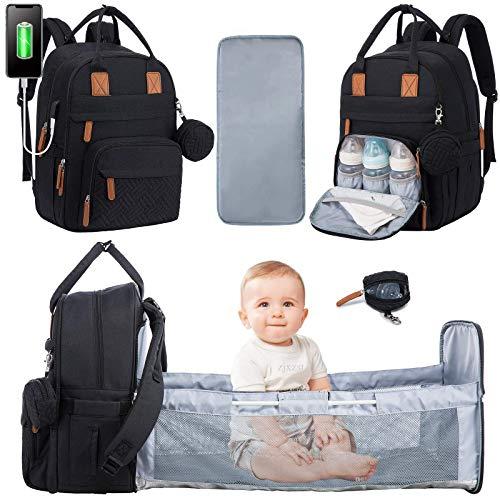 LOVEVOOK Wickeltasche Rucksack Multifunktional Wickelrucksack Babytaschen Große Kapazität Wickeltaschen mit Bett, Wickelauflage, Schnullerhalter & Kinderwagengurte für Mama und Papa (Schwarz)