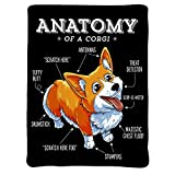 ARTIEMASTER Anatomy of A Corgi Blanket,Outdoor Blankets for Sofa Relax Napping Sleeping Throw Flannel Bedding Novelty Gift 50''X40'' for Kids Throw