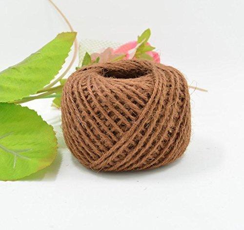 AK.SSI Corde en chanvre pour emballage cadeau, corde à boule, bricolage, décoration, bouteille en verre, 1 pièce, taille 50 m (café)