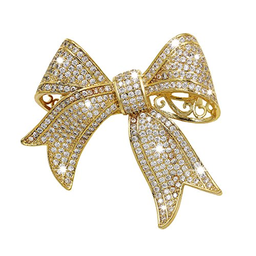 WeimanJewelry Real Gold Plated Cubic Zirconia Ribbon Bridal Bowknot Bow Brooch or Pendant for Women(Gold)