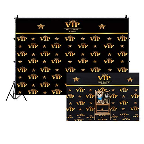 Cassisy 3x2m Vinyl Geburtstag Fotohintergrund ROTE TEPPICHEIGNIS VIP Gold Letter Krone Schwarze Tapete Fotoleinwand Hintergrund für Fotoshoot Fotostudio Requisiten Party Baby Kinder Photo Booth