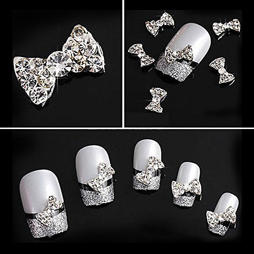 Joyeee 10 Stück 3D Strasssteine für Nägel - Weißer Diamant Schleife - Nagel-Kunst-Funkeln DIY Strass Dekoration Edelsteine Kristall Diamant