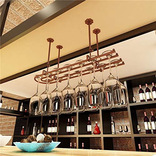 Wijnglashouder Rustiek | houder voor wijnglas aan het plafond | bewaren van vintage wijnglas | glashouder om op te hangen | hoogte verstelbaar | lengte 60/80/100 cm A+ L60xW25 Brons
