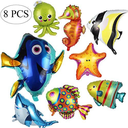 Ouinne 8 Stücke Fisch Luftballons, Fischballons Großes Meerestiere Luftballons Folie Aluminium Tropische Fische Mylar Ballons für Geburtstagsfeier Dekorationen