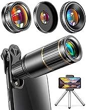 CoPedvic Phone Camera Lens Phone Lens for iPhone Samsung Pixel One Plus Huawei, 22X Telephoto Lens, 4K HD 0.67X Super Wide Angle Lens&25X Macro Lens(Screwed Together), 205° Fisheye Lens, Metal Tripod