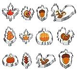 Hibery 12 Pcs Fall Cookie Cutters, Pumpkin Cookie Cutters Set, Holiday Maple Leaf Cookie Cutter for Baking, Thanksgiving Turkey, Pumpkin, Acorn, Oak Leaf, Squirrel