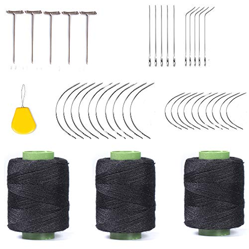 Weaving Needle Combo Deal 3Pcs Black Thread with 20pcs C Needle,5Pcs J Shap, 5Pcs I Shap and 10 Wig T Pins for Making Wig Sewing Hair Weft Hair Weave Extension (44)
