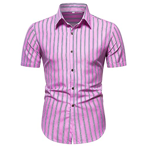 YUTING Camisa de verano de manga corta para hombre, estilo informal, estampada, corte ajustado, camiseta de manga corta B_Rosa XXL