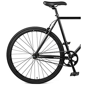 Retrospec Harper Single-Speed Fixed Gear Urban Commuter Bike, 53cm, m, Matte Black