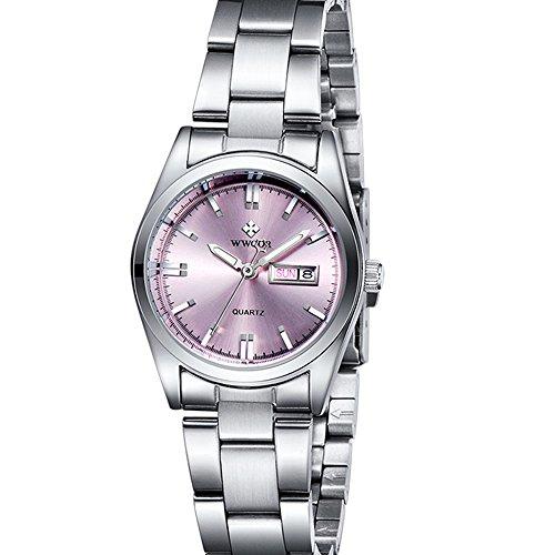 Donna data calendario orologio da donna casual alla moda in acciaio INOX orologio da polso impermeabile al quarzo rosa