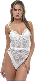 Women's Lingerie Bodysuit Lace Chemise Mesh Babydoll Sleepwear Hot Mini Sleepwear