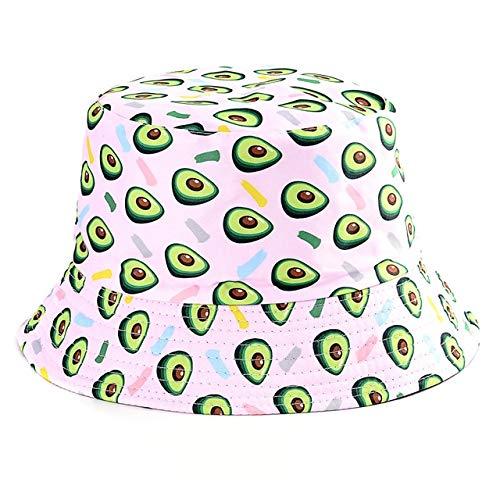 Sombrero de Verano, Sombrero deCubo de Pato Reversible para Hombres, Mujeres, Moda de algodón, niños tristes, Sombrero de Sol Plegable para niñas, Sombrero de Pescador de Playa-Avocado
