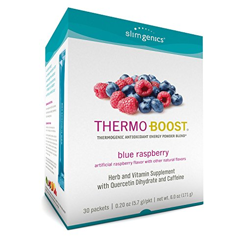 SlimGenics Thermo-Boost ® | Thermogenic Powder Energy Drink Mix – Antioxidant, Anti-Aging Properties - Metabolism Booster for Weight Loss - Fights Fatigue (Blue Raspberry Flavor) -30ct
