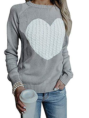 Mujer sudaderas Básico Punto Suéter de Moda O-Cuello Otoño Invierno Oversize Jerseys Blusas Abrigo Tops (Large, Gris)