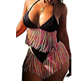 FULA-bao Women Two Piece Tassel Swimsuit Fringe Halter Neck Bikini Top High Waist Bottom Bathing Suit Swimwear (Black, XL)