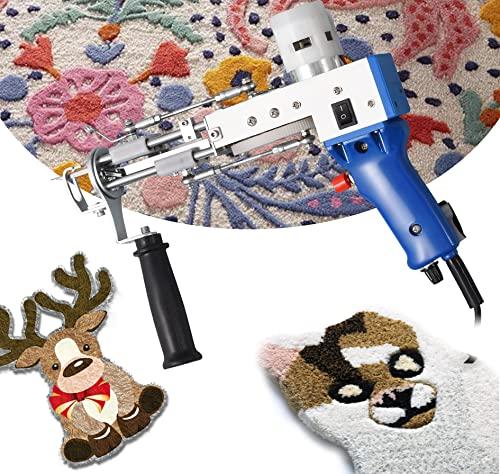 4YANG Elektrischer Teppich Tufting Gun 5-40 Stiche/Sek Cut Pile Electric Carpet Tufting Pistole Rug Gun Machine DIY Beflockungsmaschine Textil Für Erwachsene Jugendliche Und Bastelbegeisterte