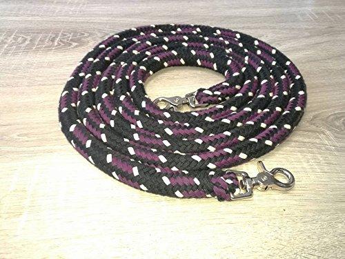Baumwollzügel / Zügel extra schwer Kernmantelseil 3,00 mtr schwarz-blackberry-natur geschlossen