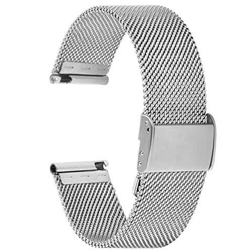 Fullmosa 【2021 Nuevo】 Correa de Reloj, Correa de Repuesto de Malla de Acero Inoxidable para Reloj (Samsung Gear s3s2 / ASUS Zenwatch/Huawei Watch/Reloj Inteligente Smartwatch etc.) Plata, 20 mm