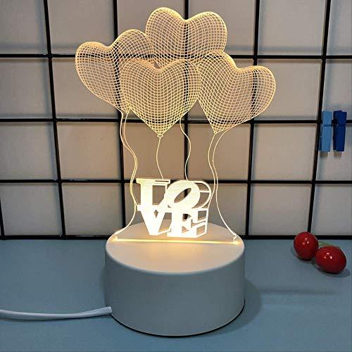 Creatieve 3D-tafellamp, prachtig led-net rood nachtlampje, vier harten