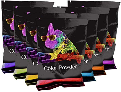 Color Powder Rainbow Packets by Chameleon Colors, 7 Individual Holi Color Packets, Color Races, Birthday Parties, and Photography Smoke. Red, Orange, Yellow, Green, Blue, Magenta, and Purple Powder.