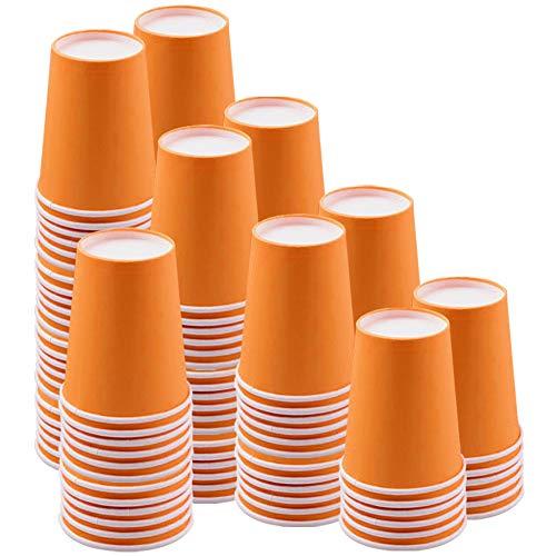 JINLE 120 Pezzi Tazze di Carta Arancia 9 Once Feste USA e Getta Tazze Biodegradabili e Compostabili per Festa di Compleanno, Fai da Te, Barbecue