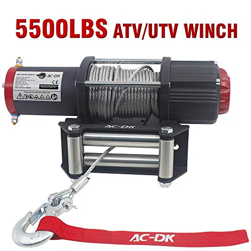 AC-DK 5500 Lb UTV ATV Winch Kit, 12V Electric Winch with 49ft Cable,Wireless Winch Kit for SUV/4WD Off Road Waterproof Winch (2pcs Handle Wireless Remote Control and Removable Control Box)