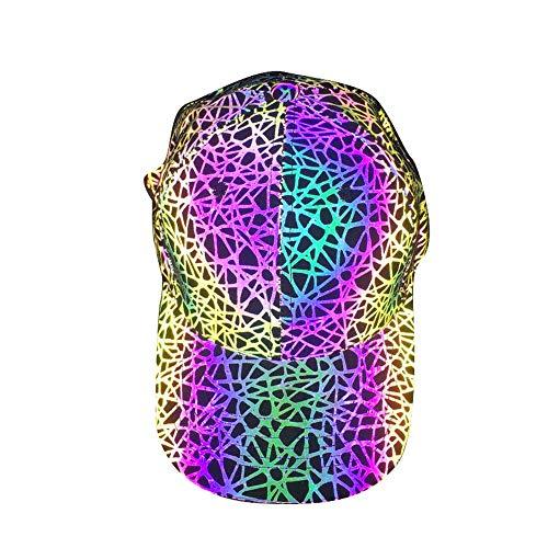 Gorra de béisbol Reflectante Unisex Sombrero de Pescador Ajustable Marea de Calle al Aire Libre Hip-Hop Sombrero Luminoso Reflectante
